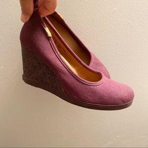 Keds Damsel purple platform wedge canvas heels